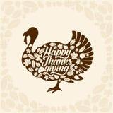 Typografi av tacksägelsen Beautifully dekorerad ferietext med höstbeståndsdelar stock illustrationer