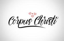typografi för Corpus Christi stadsdesign med röd hjärtasymbolslogo vektor illustrationer