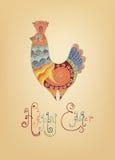 Typografi för fågelunge för påskkort folk dekorerad ljus Royaltyfri Fotografi