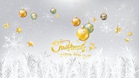 Typografi för jul och för nytt år på vit bakgrund, trädkli royaltyfri illustrationer