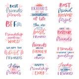Typografi för kort för kamratskap för vänbokstävervektor och vänskapsmatchkalligrafilogotypen planlägger med textteckenillustrati stock illustrationer
