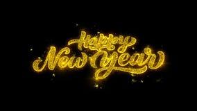 Typografi 2019 för lyckligt nytt år som är skriftlig med guld- partikelgnistafyrverkeri vektor illustrationer