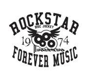 typografi 'för rockstar för evigtmusik ', sportsliga utslagsplatsskjortadiagram royaltyfri illustrationer