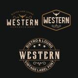 Typografi för tappninglandsemblem för västra inspiration för stång-/restauranglogodesign - vektor vektor illustrationer