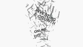 Typografi för text för moln för ord för begrepp för marknadsföring för investeringtillväxtonline-shopping royaltyfri illustrationer