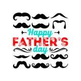 Typografi och bokstäver med formgivaren färgade beståndsdelar och konturer för en lycklig dag för fader` s royaltyfri illustrationer