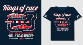Typografia projekta klasyka wiecu Samochodowej rasy retro koszulki cool projekta druku ilustrację Żużli królewiątka royalty ilustracja