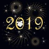 Typografibanerguld 2019, lyckligt nytt år, svinlyckönskankort på på svart royaltyfri illustrationer