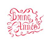 Typografibanret röda märka Bonne Annee, betyder lyckligt nytt år i franskt språk vektor illustrationer