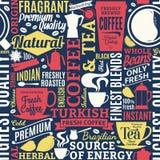 Typograficzna wektorowa kawa, herbaciany bezszwowy wzór i tło ilustracji