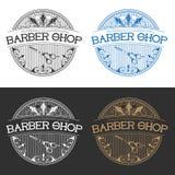 Typograficzni fryzjera męskiego sklepu emblematy Obrazy Royalty Free
