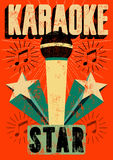 Typograficzny retro grunge karaoke plakat również zwrócić corel ilustracji wektora Zdjęcia Stock