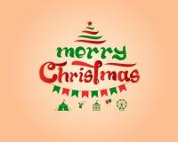 Typografie der frohen Weihnachten Stockbilder