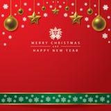 Typografie der frohen Weihnachten und des guten Rutsch ins Neue Jahr auf rotem Hintergrund lizenzfreie stockfotos