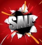 Typografie des Verkaufs 3d werfen heraus auf roten Hintergrund Stockfoto