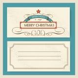 Typografie en het ornament van de Kerstmisuitnodiging retro Royalty-vrije Stock Foto