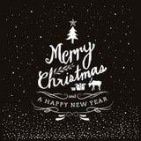 Typografie-frohe Weihnachten und guten Rutsch ins Neue Jahr Lizenzfreies Stockbild
