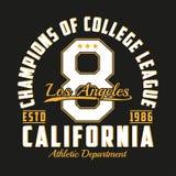 Typografie Los Angeless, Kalifornien für Designkleidung Grafiken für Druckprodukt, Zahlt-shirt, Weinlesesportkleid Vektor Lizenzfreies Stockfoto