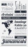 Typografie mit Elementen von infographics Lizenzfreie Stockfotos