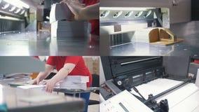 4 in 1: Typografie op het werk - machines industrieel lijmen stock videobeelden