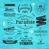 Typografie-Sommerferien-Ausweis-Vektor-Design Stockfotos