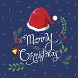 Typografie- und Weinleseblume für Weihnachtstag vektor abbildung