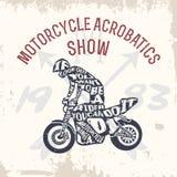 Typografie van letters voorziende motorrijder vector illustratie