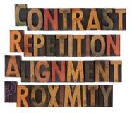 Typografie van ontwerpprincipes - CRAP Royalty-vrije Stock Afbeeldingen