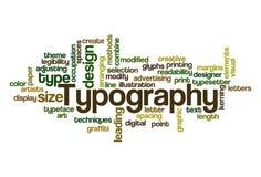 Typografie - Wort-Wolke Stockfotografie