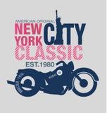 Typografiedesign-Motorradklassiker Stockfoto