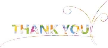 Typografiefahne danken Ihnen Bunte Buchstaben auf Weiß, Dekoration Lizenzfreie Stockbilder