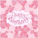 Typografiefahne, die alles Gute zum Geburtstag beschriftet, wenn rosa Blumenrahmen gemalt wird Stockbilder