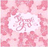 Typografiefahnenbeschriftung danken Ihnen, wenn sie rosa Blumenrahmen malt Lizenzfreies Stockbild