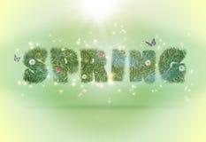 Typografiefrühlingswort auf einem Hintergrund Stockfoto