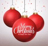 Typografiegrüße der frohen Weihnachten in hängenden roten Weihnachtsbällen lizenzfreie abbildung