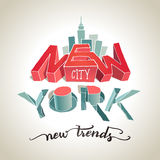 Typografieillustration New York City 3d Lizenzfreies Stockfoto
