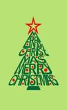 Typografiekarte der frohen Weihnachten mit dem Lassen Stockfotos