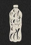Typografieplakat des Weinlesehydrats sich einfache artsy Vektorflaschen-Briefgestaltung kalligraphisches Hydratationsflaschenscha lizenzfreie abbildung