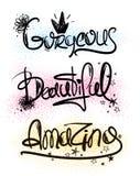 TypografiHandlettering inspirerande ord stock illustrationer
