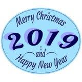 Typografii etykietki w retro stylu z tekstem Szczęśliwi 2019 nowy rok i Wesoło boże narodzenia w błękitnych kolorach - ilustracja wektor