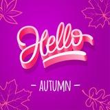 Typografii jesień cześć Ilustracja z jesień liśćmi Editable szablon dla projekta pocztówka, sztandar, plakat Wektor ja Fotografia Royalty Free