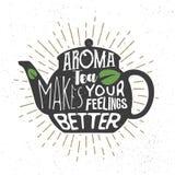 Typografii nakreślenie z teapot literowaniem i sylwetką Kreatywnie kaligrafii wycena, graficzny projekt Obraz Royalty Free