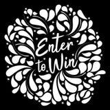 Typografiillustration av Enter som ska segras i svartvitt royaltyfri illustrationer