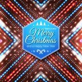 Typografisch etiket voor Vrolijke Kerstmis en Gelukkig Nieuwjaar Royalty-vrije Stock Foto