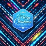 Typografisch etiket voor Vrolijke Kerstmis en Gelukkig Nieuwjaar. Stock Afbeelding