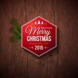 Typografisch etiket voor Vrolijke Kerstmis en Gelukkig Nieuwjaar royalty-vrije illustratie