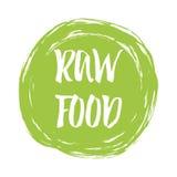 Typografisch van letters voorziend teken Ruw Voedsel in groene vlek voor embleem, etiket, kenteken, sticker royalty-vrije illustratie