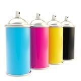 Typografische Ölfarbe des CMYK Farbensprays Stockfotografie