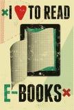 Typografische affiche in grungestijl I liefde om e-boeken te lezen De computer van de tablet met pagina's Vector illustratie Stock Foto