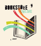 Typografische affiche in grungestijl voor een boekhandel of een bibliotheek Vector illustratie Stock Foto's